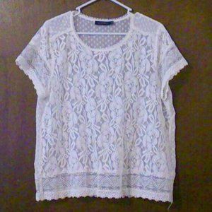 The Limited Ivory Lace Short Sleeve Sheer Top *